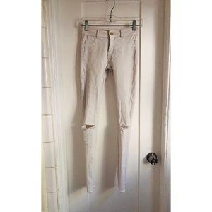 Zara white ripped distressed rocker skinny jeans